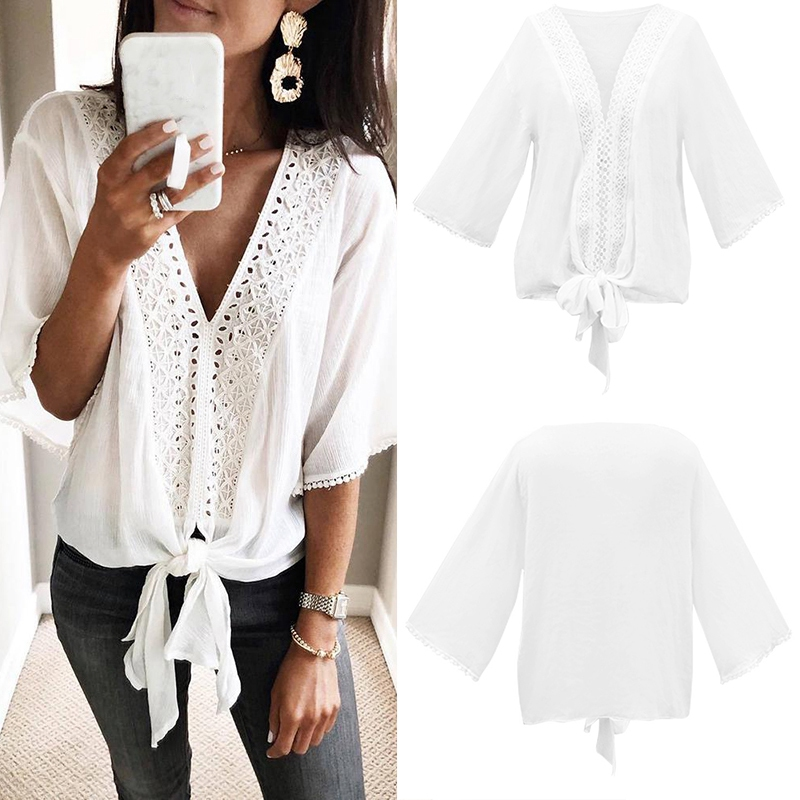 Women T-<font><b>Shirt</b></font> New <font><b>Sexy</b></font> Lace <font><b>Shirt</b></font> Female Loose Cover <font><b>Belly</b></font> V-Neck <font><b>Shirt</b></font> Top White Color <font><b>Shirt</b></font> image