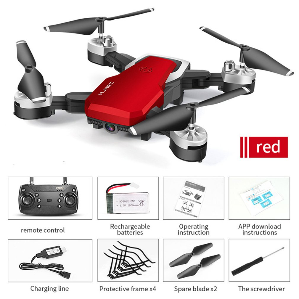 HJ28 Foldable RC Drone 4 Channels Wifi 2MP/5MP FPV Camera Drone Altitude Hold Gesture Photo/Video RC Quadcopter image