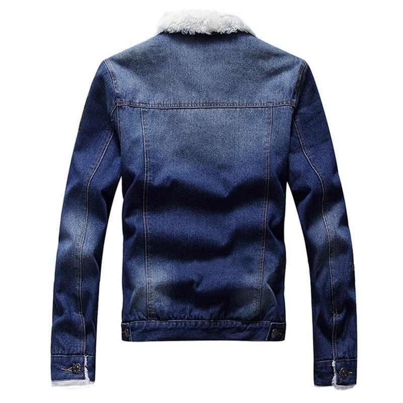 LBL Fleece Innere Denim Jacke Männer Winter Mode Schlank Trendy Warme Dicke Herren Jean Jacken Outwear Motorrad Mäntel Cowboy 2020