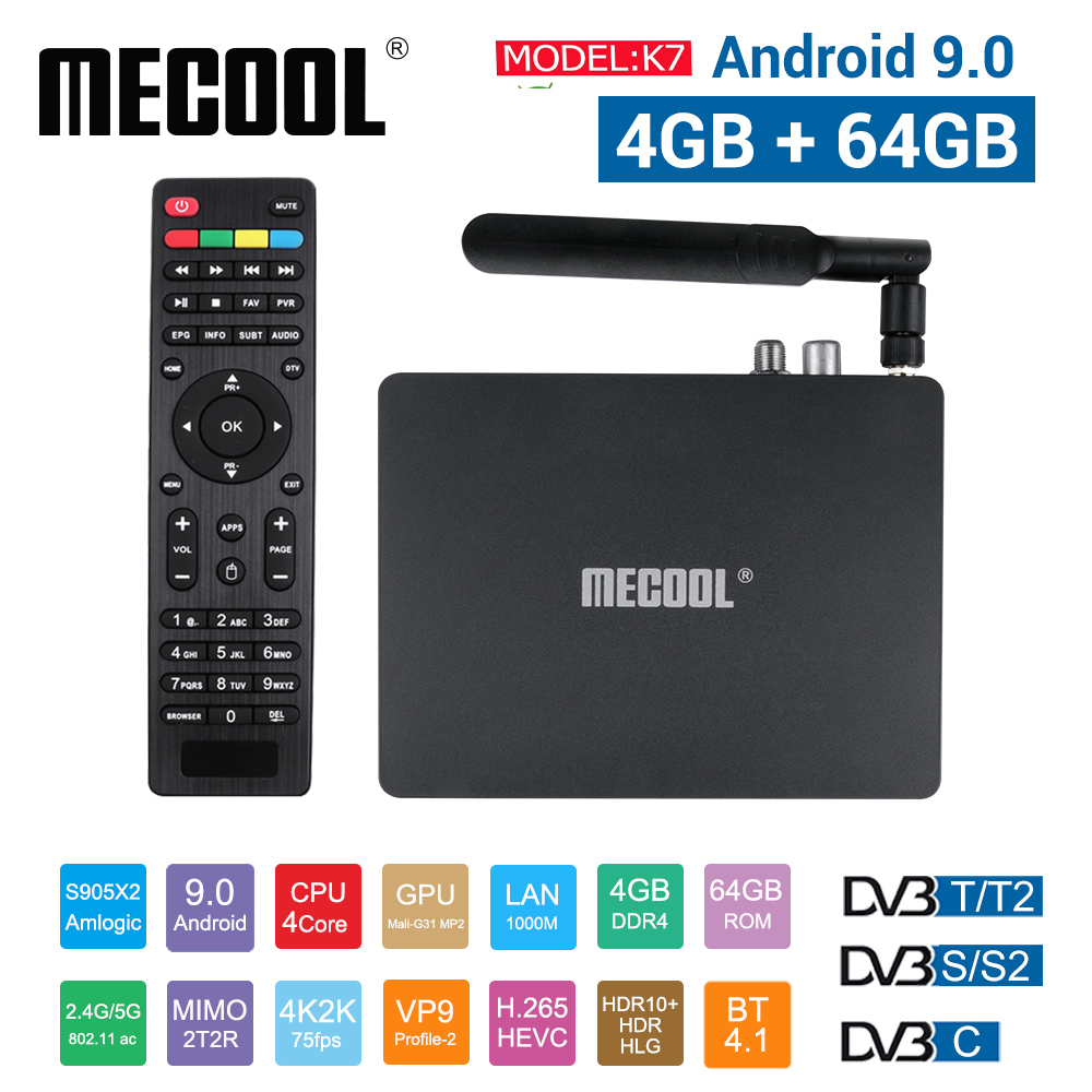 MECOOL K7 Smart Tv Box Android 9.0 Amlogic S905x2 2.4G 5G WIFI LAN 10/100M Bluetooth 4.1 4GB 64GB DVB S2/S DVB T2/T DVB C Tv Box|Set-top Boxes|   - AliExpress