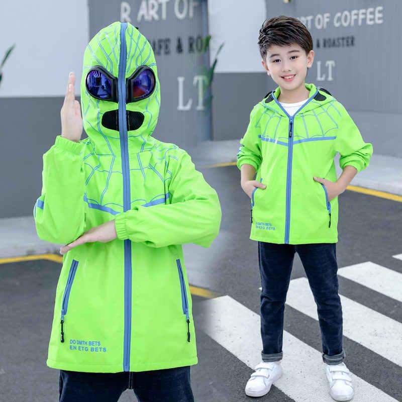 Örümcek Desen Erkek Hoodies Ceket ile Gözlük Çocuklar Kapşonlu Su Geçirmez Rüzgarlık Mavi Floresan Yeşil Ceket Gözlük