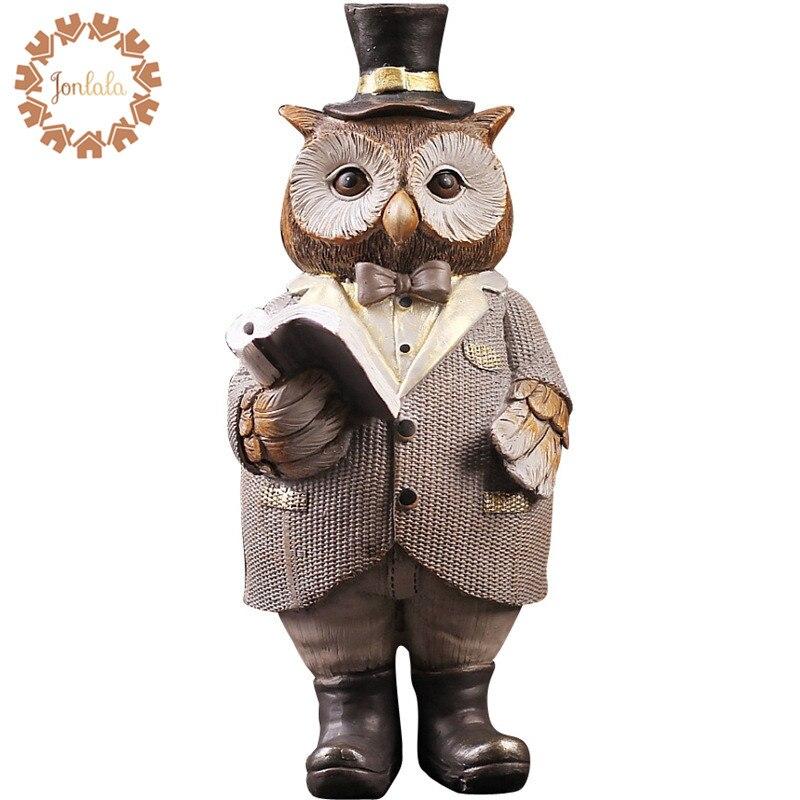 Chaud! Gentleman hibou décorations pour la maison résine hibou accessoires salon ornements artisanat, meilleur cadeau
