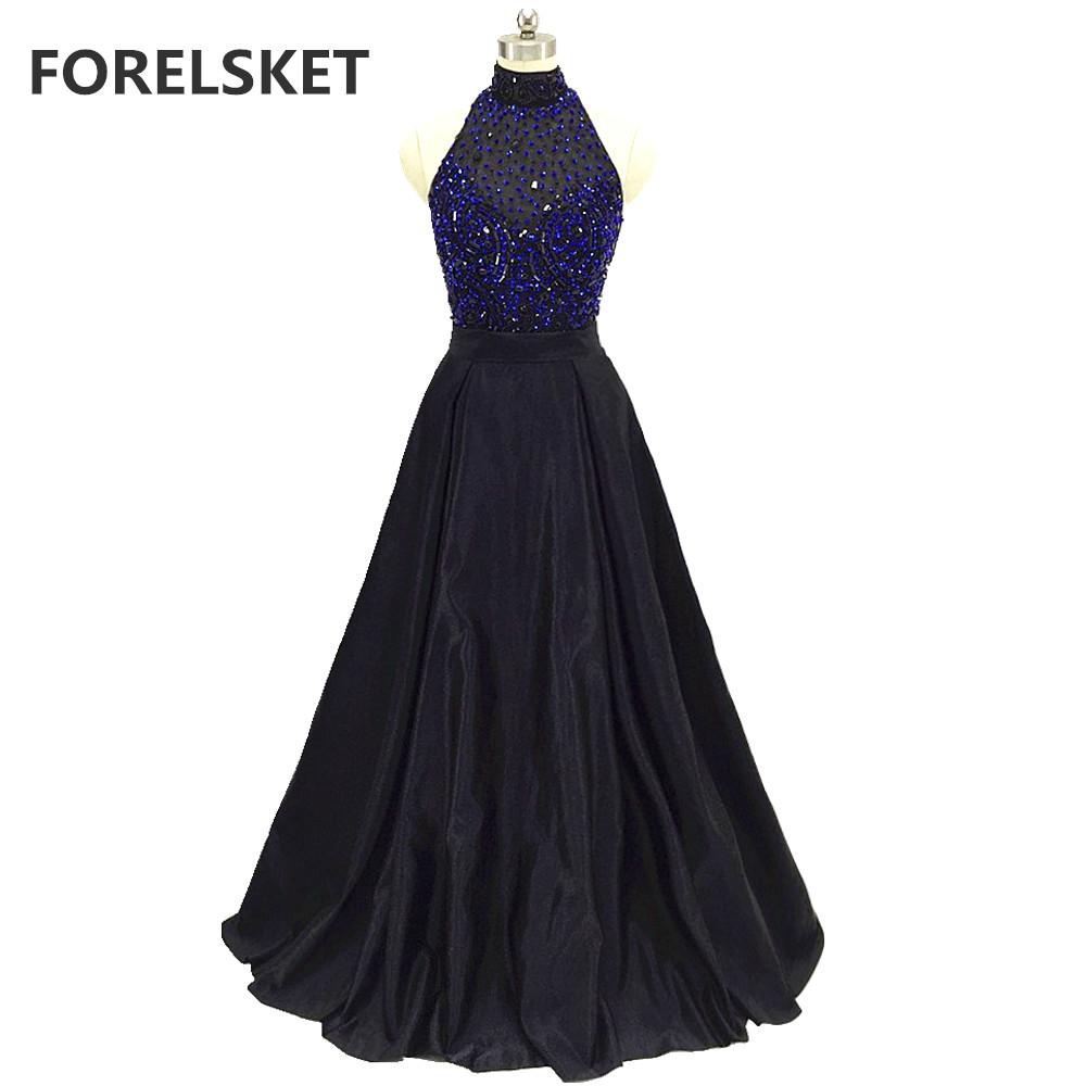 Sequined Halter Long Black Satin Prom Dresses 2020 Crystal Beading Formal Evening Party Dress Open Back Illusion Robe De Soiree