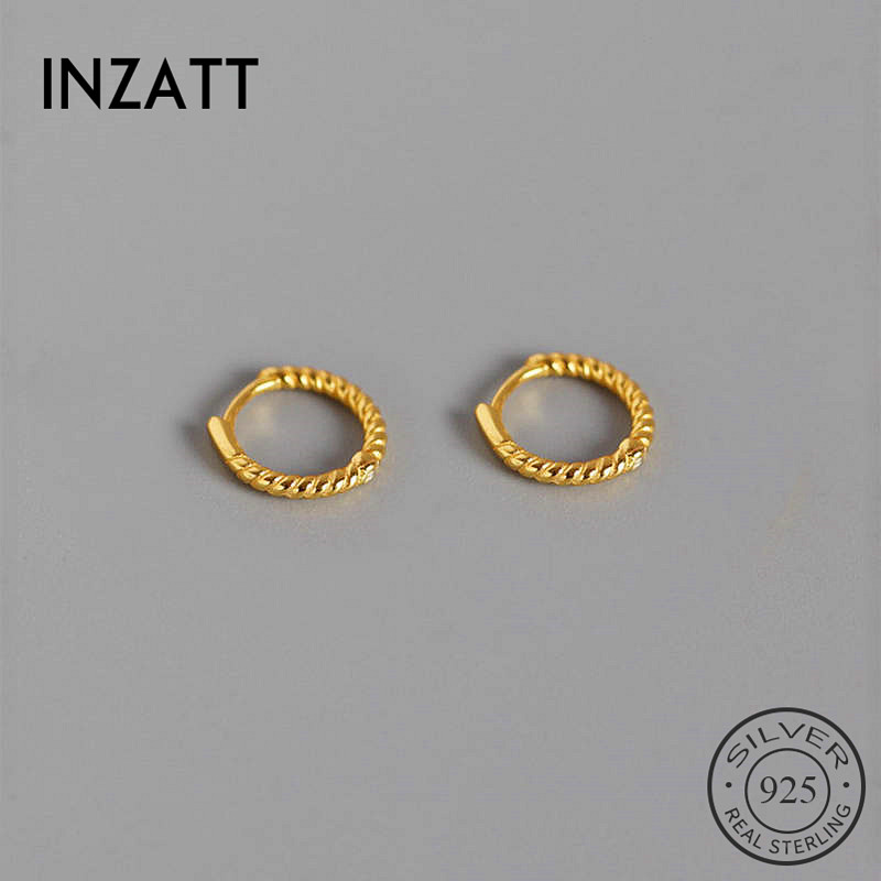 INZATT Real 925 Sterling Silver Spiral Round Hoop Earrings For Fashion Woman Party Fine Jewelry Geometric Punk Accessories