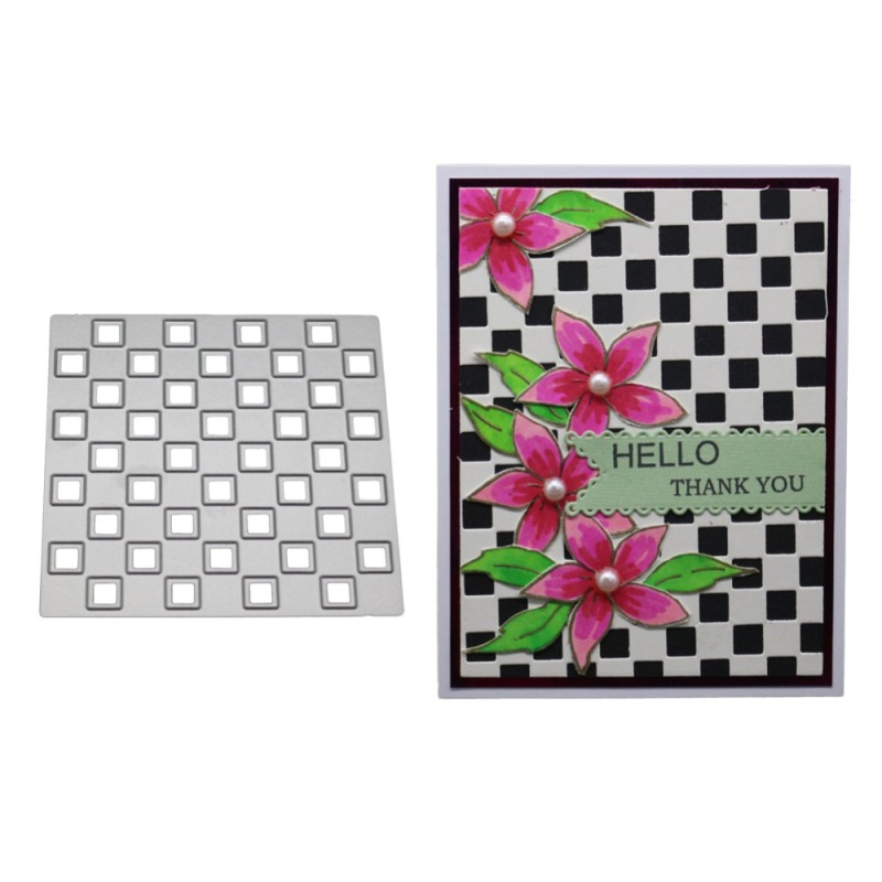 Square Background Christmas Metal Cutting Dies Stencil Lattice Die Cut Scrapbooking Embossing Stamps And Dies 2019 New Craft