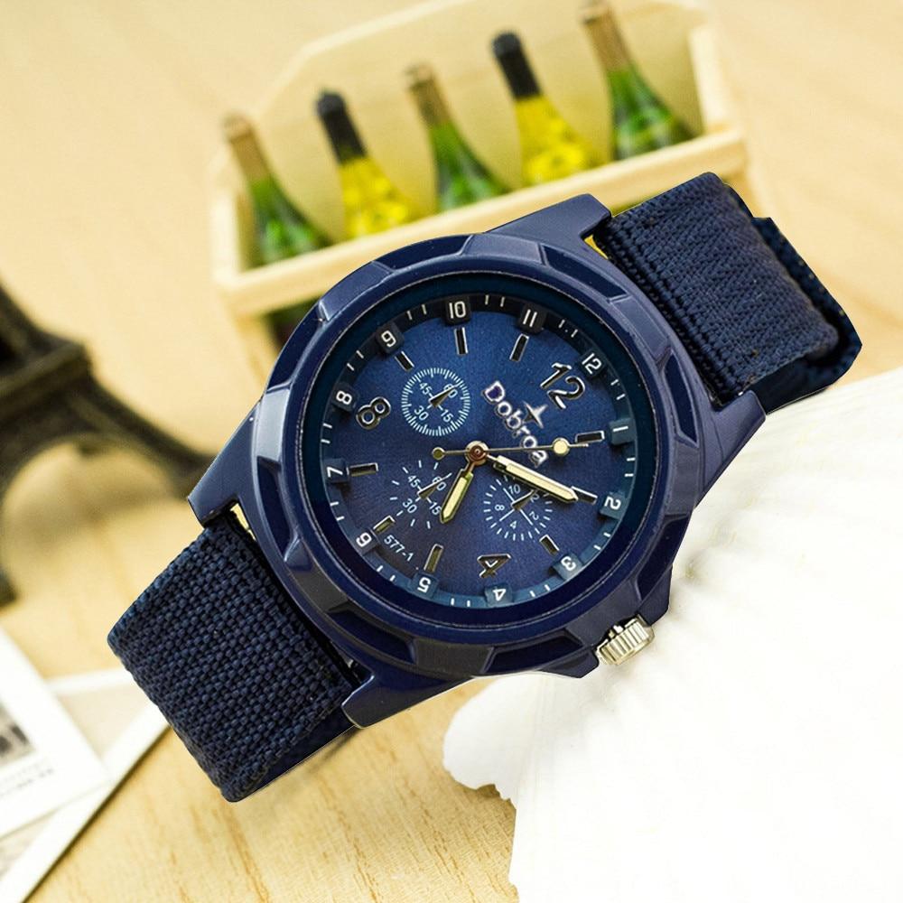 Men's Fashion Simple Casual Nylon Sport Braided Canvas Belt Watch Analog Wrist Watch Clock Relogio Feminino часы женские #D