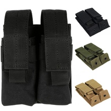 9mm Tactical Double Molle Pistol Magazine Pouch Flashlight Holder Airsoft Gun Accessories Hunting Waist Belt Mag Holster Bag