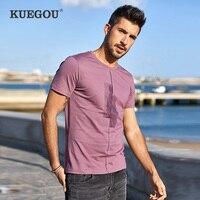 Kuegou/брендовая мужская футболка с коротким рукавом, Мужская модная одежда для отдыха, модная футболка LT-1776