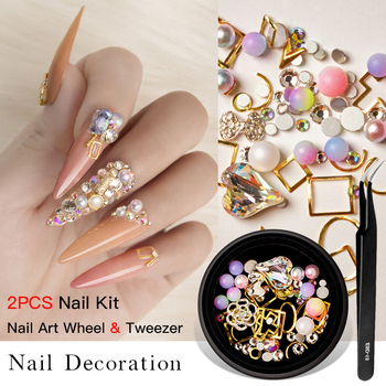 1/2Pcs Set 3D Nail Rhinestones Stones Mixed Colorful DIY Design Decals with Nail Curved Tweezer Crystals Nail Art Decorations image