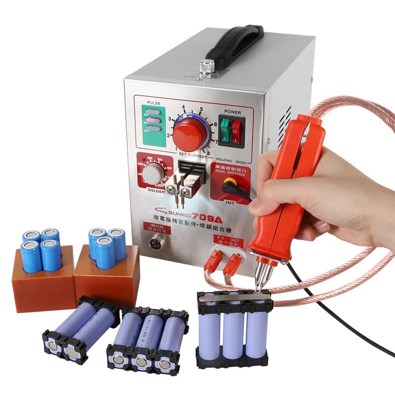 SUNKKO 709A HB-70B Spot Welder 1 9KW LED Light Pulse Spot Welding Machine For 18650 Battery Pack Precision 912 Electric Iron