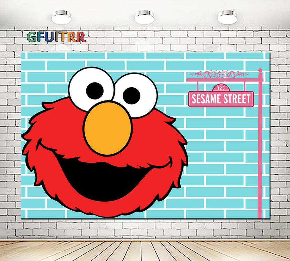 Gfuitrr Red Elmo Photography Backdrop Baby Shower Kids Birthday Party Photo Background Sesame Street Vinyl Photo Booth Props Background Aliexpress