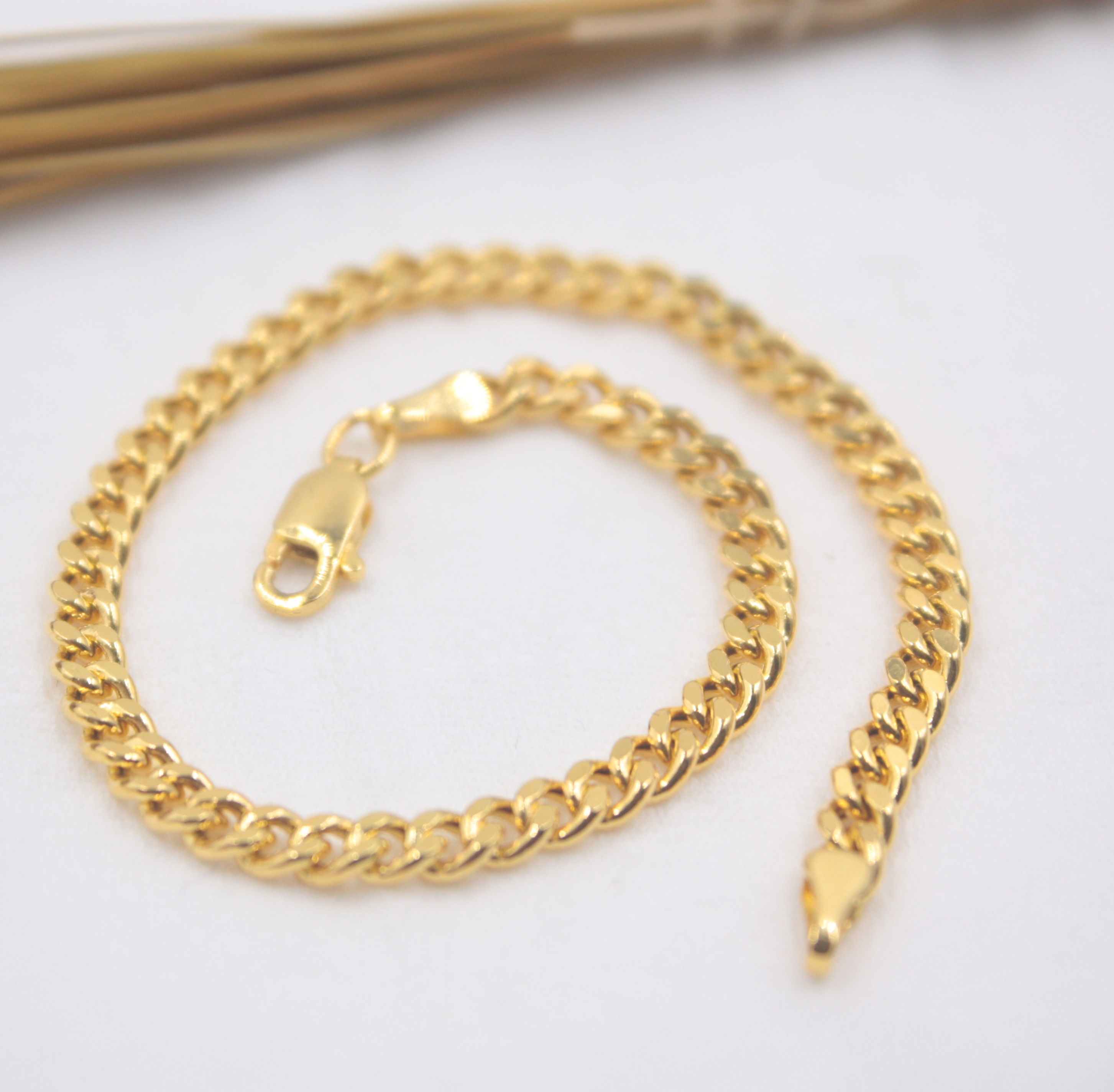 Au750 18K Yellow Gold Bracelet Woman's Curb Chain 3.5mm Women's Wheat Link 6.9''L