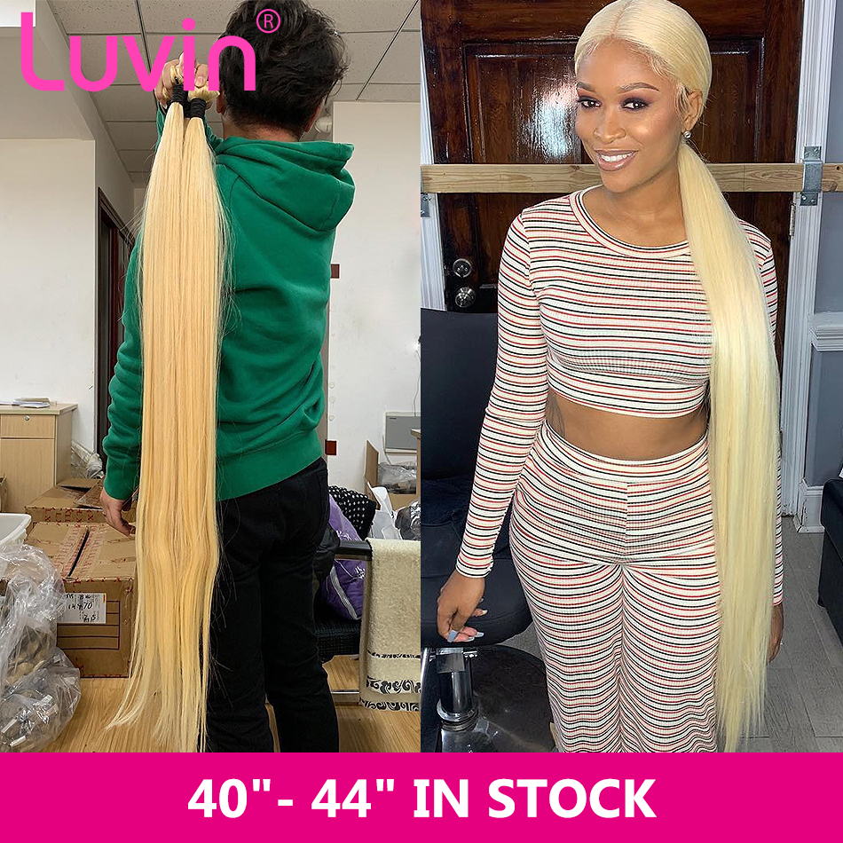 Luvin 1 3 4 Bundles 30 40 42 44 Inch Long Brazilian Remy Straight Double Drawn 613 Blonde Human Hair Weave Bundles Extensions