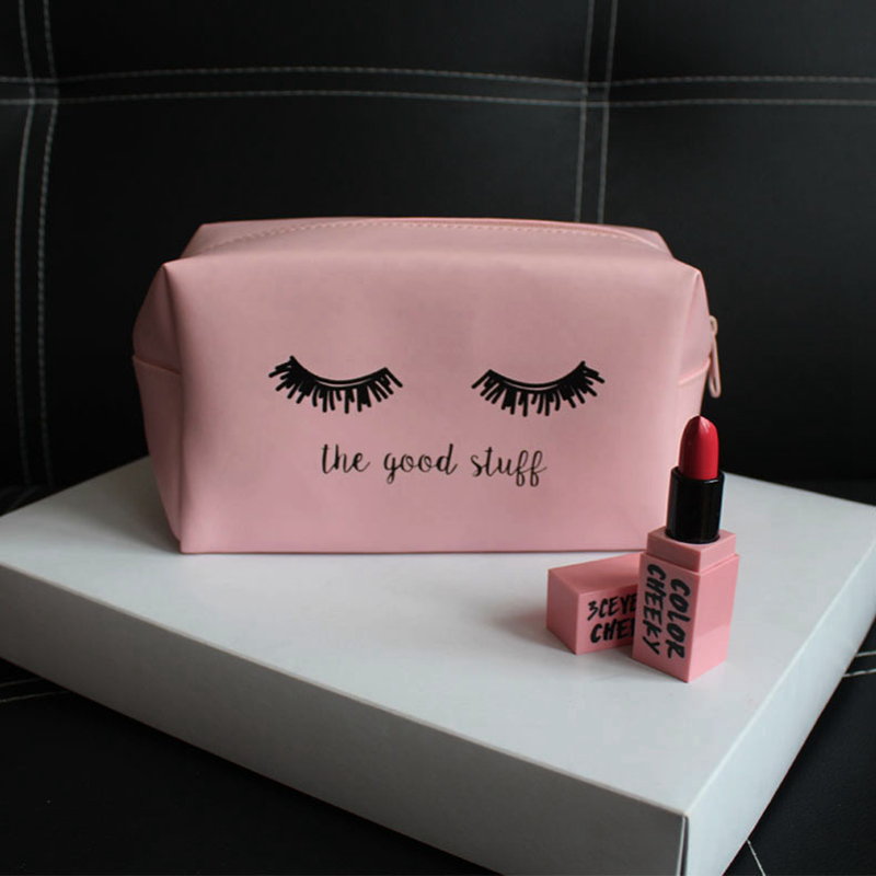Kawaii Pink Eyelashes PU Letter Makeup Bag Women Zipper Handbag Organizer Storage Beauty Make Up Travel Cosmetic Case Wash Pouch