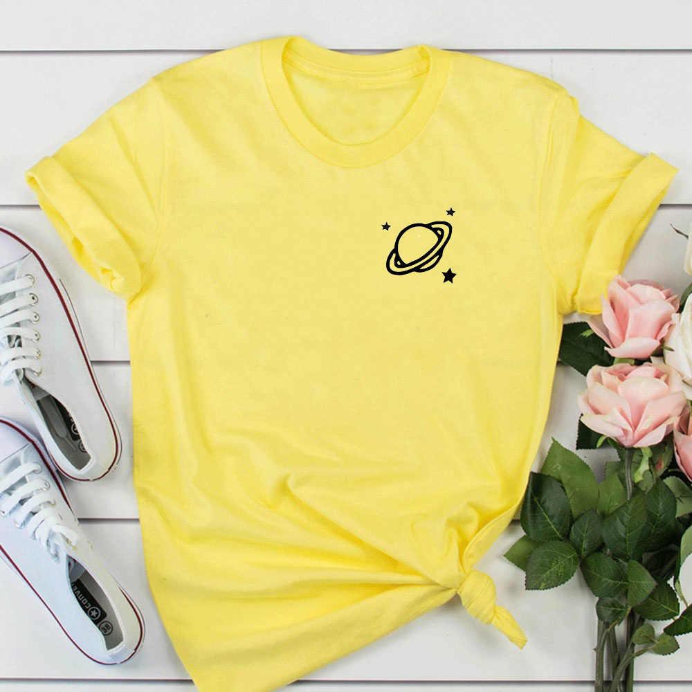 Spazio tasca della camicia tumblr t delle donne della camicia graphic tee regalo teenager vestiti stampati delle donne in cotone t-shirt parti superiori di estate