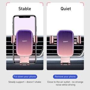 Image 2 - Baseus Metal araba telefon tutucu 360 derece cep telefon tutucu araba hava firar dağı klip standı akıllı telefon için yerçekimi braketi