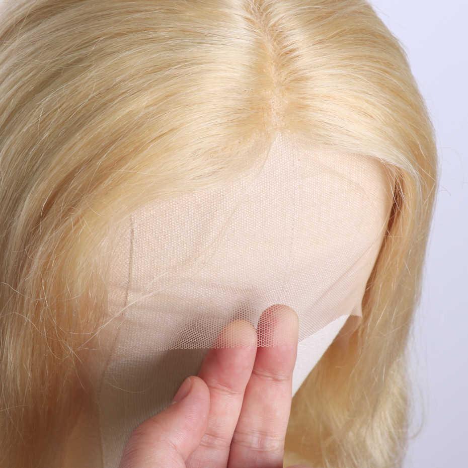Prosto blond koronkowa peruka na przód Topline środkowa T część ludzkich włosów peruki koronkowa peruka na przód 613 frontal peruka peruwiański włosy Remy Jarin
