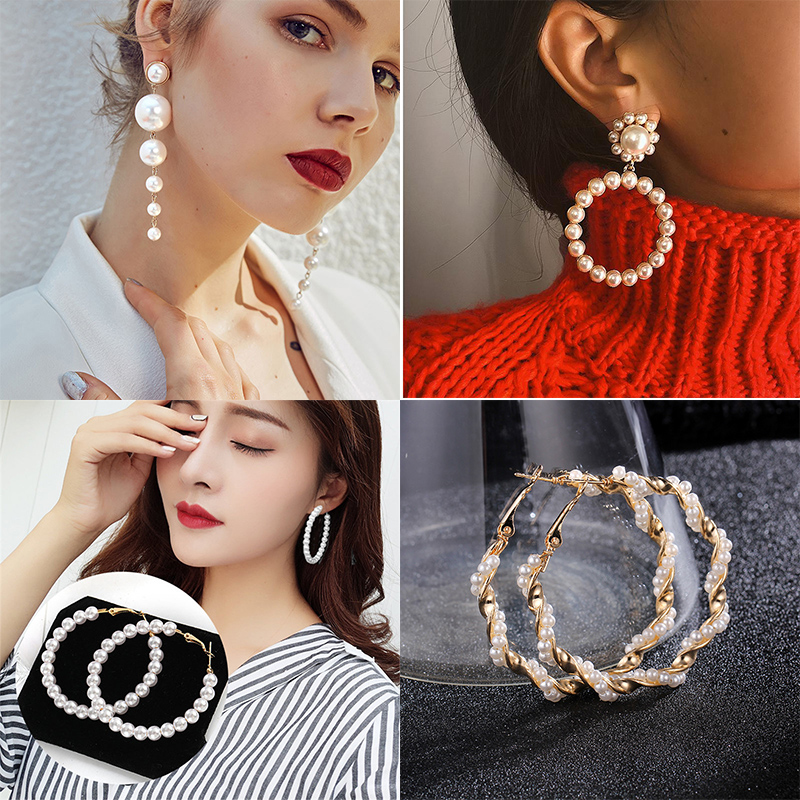 Trendy Elegant Created Big Simulated Pearl Long Earrings Pearls String Statement Drop Earrings For Wedding Party Gift