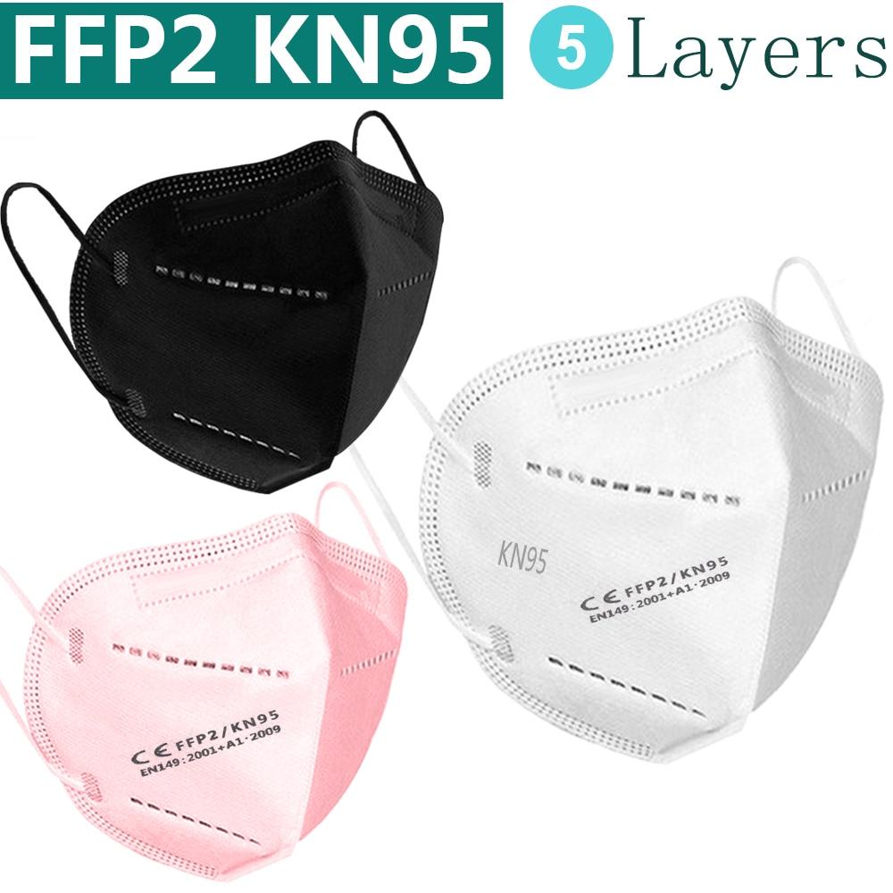 Masque FFP2 KN95 pour la protection faciale et buccale, avec filtre, anti-grippe, noir ou blanc