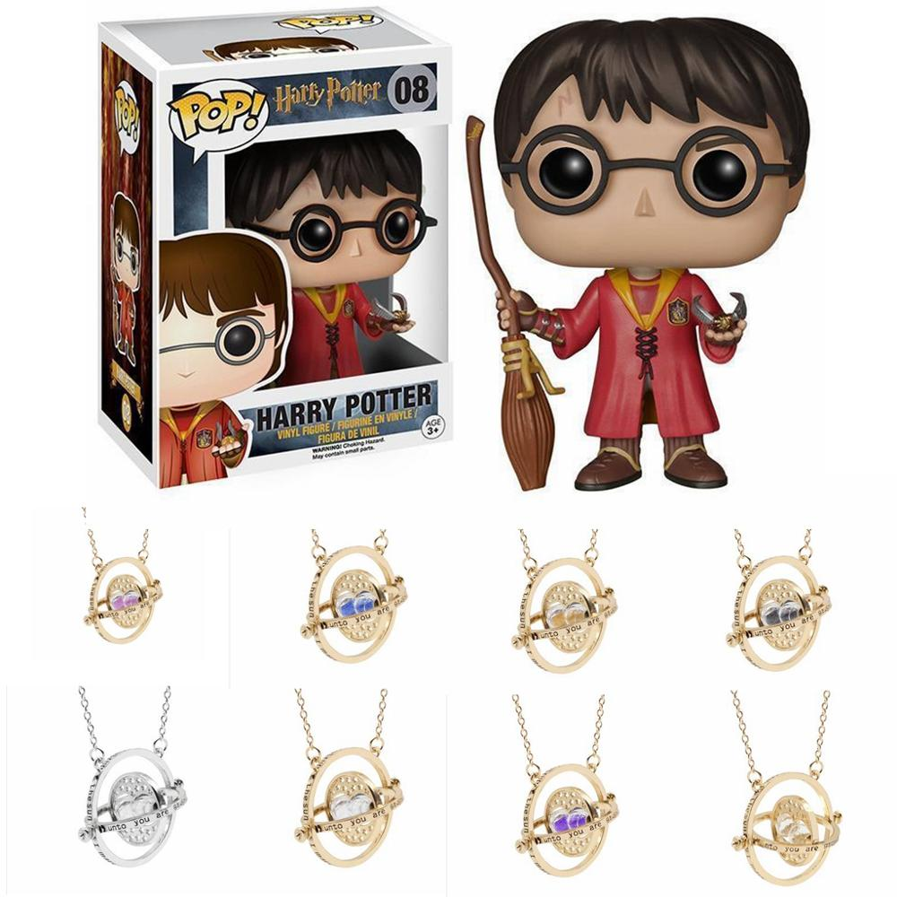 Harri Potter Magic Wand Time Turner Hourglas Fly Thief Quidditch Pendant Toys Action Toy Figures