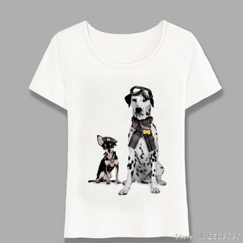 Fashion Pet Flight School Hipster Dog Print t-shirt Cute Women T-Shirt Female Casual Tops Summer Tees Ladies T-Shirt Harajuku