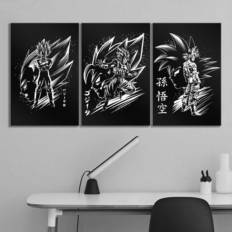 3pcs Black White Canvas Paintings Dragon Ball Z Goku Vegeta Vegetto Anime Poster Hd Wall Picture For Bedroom Decor Painting Calligraphy Aliexpress