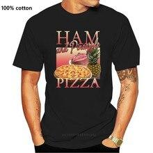 Ветчина и ананаса пицца футболка смешные юмор в винтажном стиле дань уважения 80S вечерние пищевой модные классические Стиль футболка