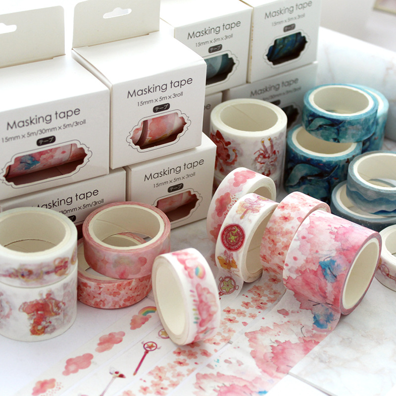 3pcs Drawing Paper Washi Tape Set 15mm 30mm Cherry Flower Painting Lace Pink Decorative Adhesive Masking Tapes Stickers A6357