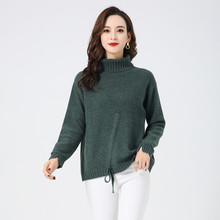 LHZSYY 2019Autumn Winter New 100% Pure Cashmere Sweater Women's Thicken Large size Raglan Sleeves Knit Pullover Wild Warm Blouse army green lace up knit long raglan sleeves sweater