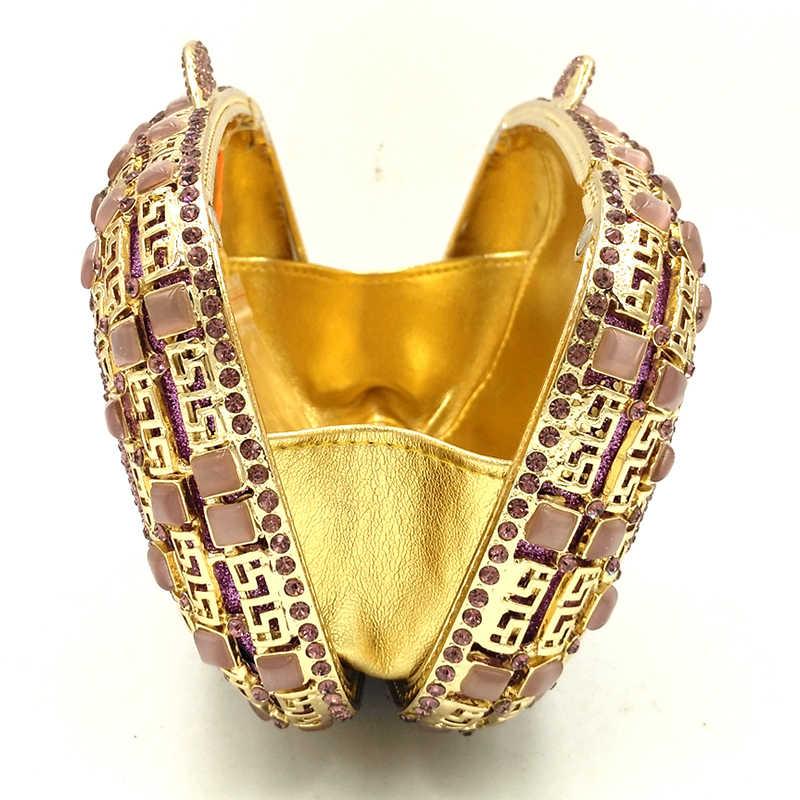 Золотые металлические хрустальные вечерние сумки фиолетовые сумки модные открытые сумки-мессенджеры на цепочке роскошные женские вечерние кошельки мини-кошелек