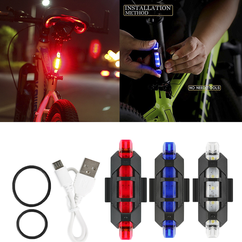 New Waterproof 5 LED MTB Bike Bicycle Rear Tail Light Lamp USB Recharge Safety Bike Bicycle Light Rechargeable LED Taillight