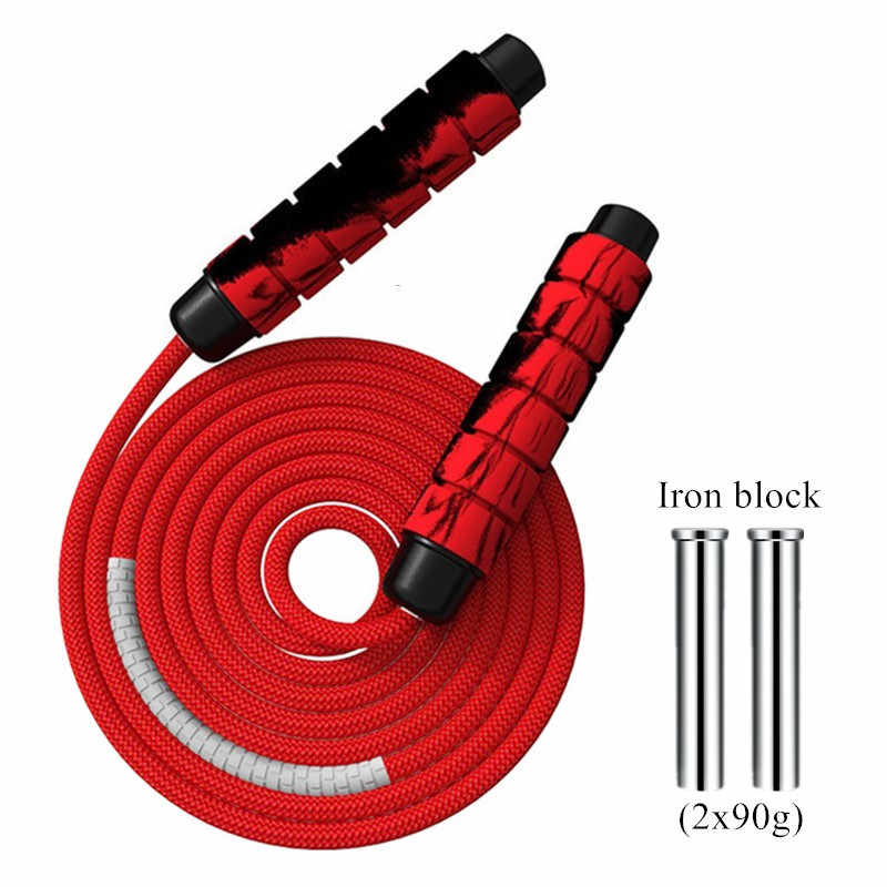 Heavy Adjustable Weighted Skipping Handle Home Gym Rope Weavon Cable Foam Hot
