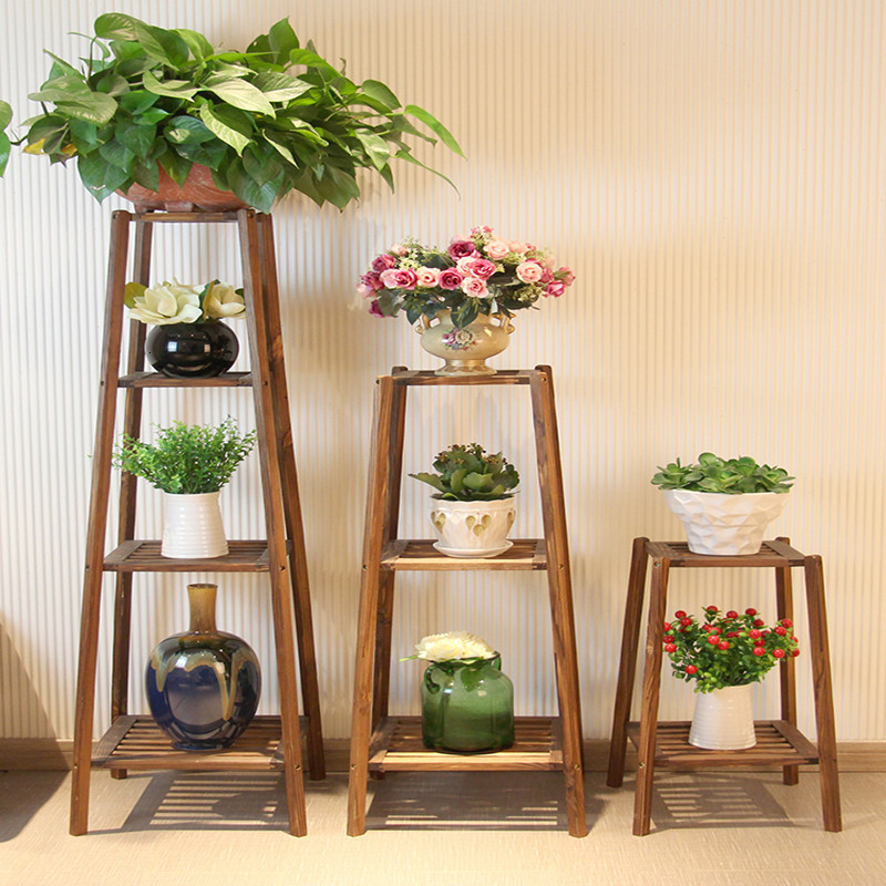 Log Indoor A Living Room Chlorophytum Green Luo Flower Stand Woodiness To Ground Multi-storey Receptacle Flowerpot Shelves