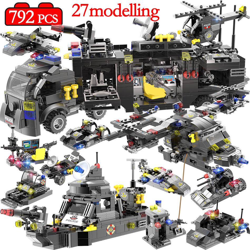 792pcs City Police Station Building Blocks Compatible Legoinglys City SWAT Team Truck Blocks Educational Toy For Boys Children
