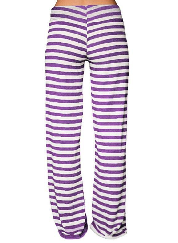 2019 New Style Women Fashion Casual Striped High Waist Elastic Loose Wide Leg Trousers Dancing Yoga Pants Z818