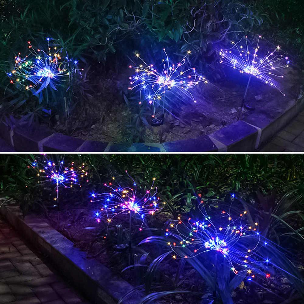 Solar Powered Outdoor Rumput Kembang Api lampu 90/120/198 LED Rumput Untuk Taman Pemandangan Lampu Sumber Cahaya: