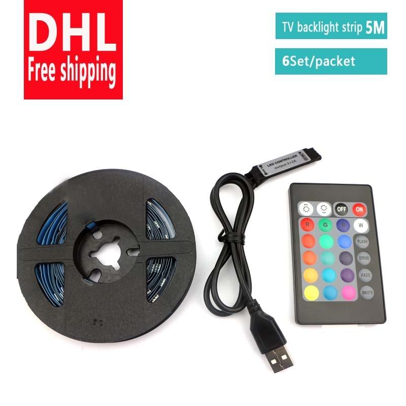DHL livraison gratuite RGB 5050 bande LED USB 5V 5M Flexible bande de lumière LED USB avec mini 24 touches télécommande TV éclairage de fond
