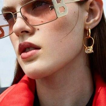Letter B Fashion Square Sunglasses Women Metal Legs Retro Fashion Sun glasses Men Sun Glasses Brand UV400 Eyeglasses Shades недорого