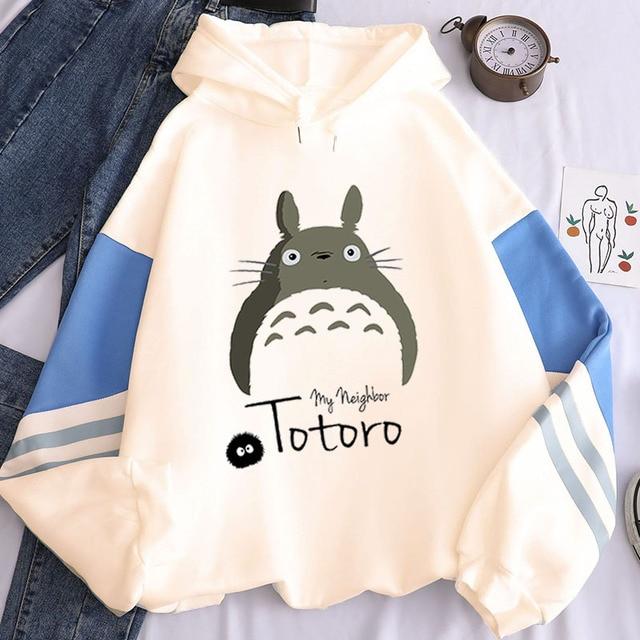 New Harajuku Streetwear Sweatshirts Totoro Printed Hoodie Tops Women Long Sleeve Fleece Hoodies Spirited Away Hoody Pullovers 1