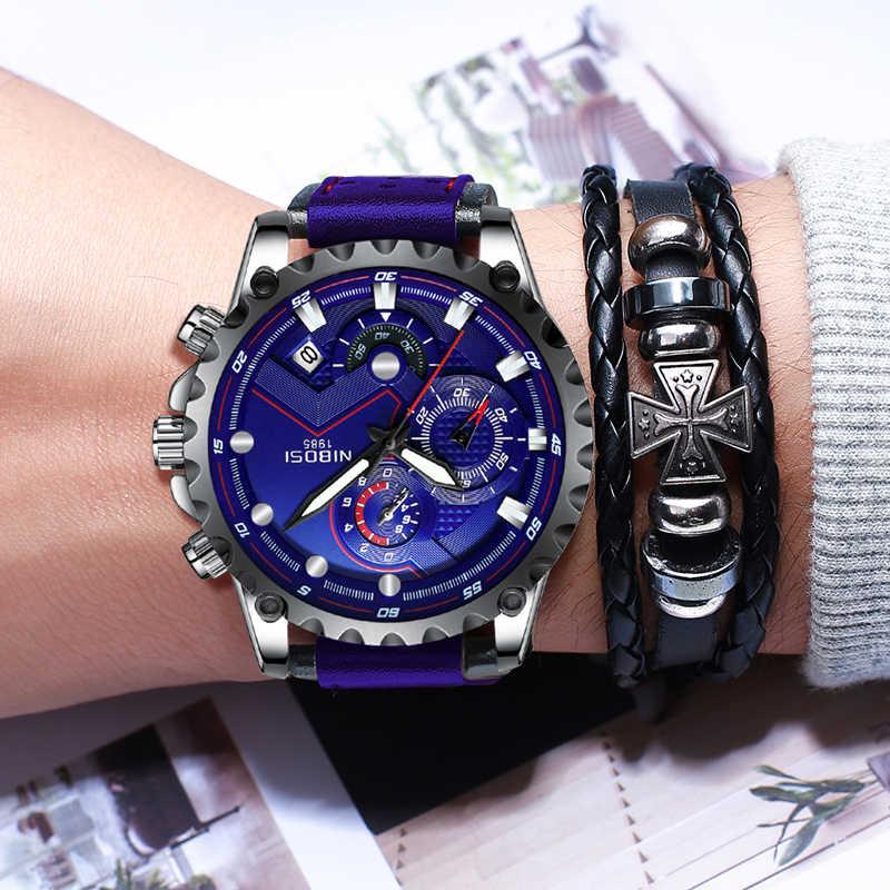 NIBOSI ブルー腕時計男性 2019 高級ブランド防水レザーメンズ腕時計クロノグラフ Sprots マン時計屋外 Relogios Masculinos