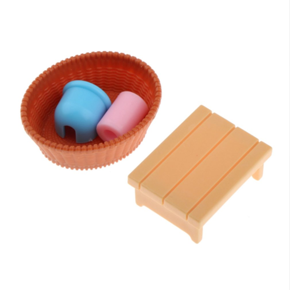 Dollhouse Miniatures Bathroom Furniture Sets For Doll House Craft Toys Acessories Christmas Birthday Gift