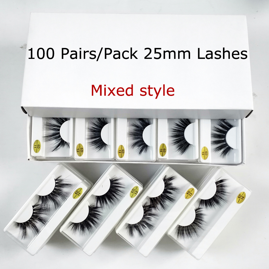 Wholesale 25mm Lashes 20/30/50/100 Pairs 25 Mm False Eyelashes Thick Strip Mink Lashes Makeup Dramatic Long Mink Eyelashes Bulk