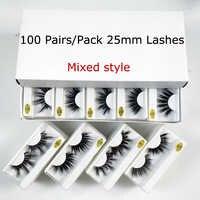 Wholesale 25mm Lashes 20/30/50/100 Pairs 25 mm False Eyelashes Thick Strip Mink Lashes Makeup Dramatic Long Mink Eyelashes Bulk