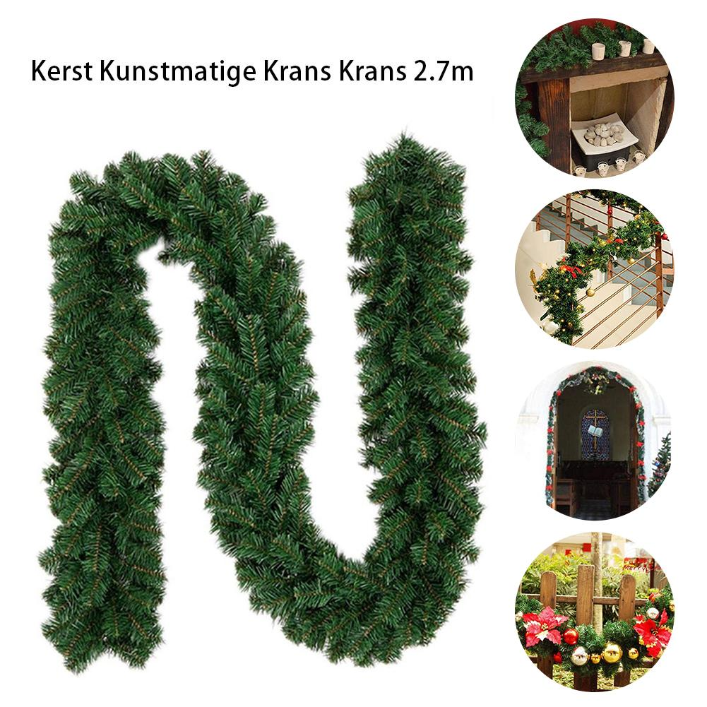 2.7m Green Christmas Artificial Garland Wreath Xmas Home Party Christmas Decor Rattan Hanging Ornament For Kids Merry Xmas