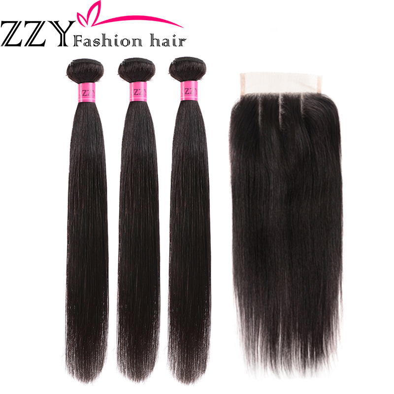 ZZY Fashion Hair Brazilian Human Hair 3 Bundles With Closure Straight Hair Bundles With Closure 8-26 Inch Non-Remy Hair Weave
