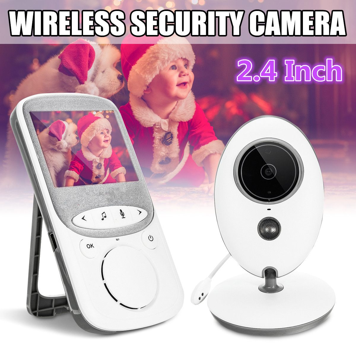 2.4 Inch Digital Wireless Night Vision Baby Monitor Baby Security LCD Audio Video Camera 2 Way Talk Temperature Monitor Security image
