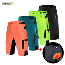 WOSAWE Baggy Cycling Shorts Mens MTB Mountain Bike Bicycle Loose Downhill with Pad Underwear Riding Trousers