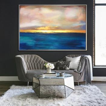Abstract Sunset Painting Blue Ocean Painting Gold Horizon Painting Large Painting Thick Paint Unique Abstract Painting Wall Art
