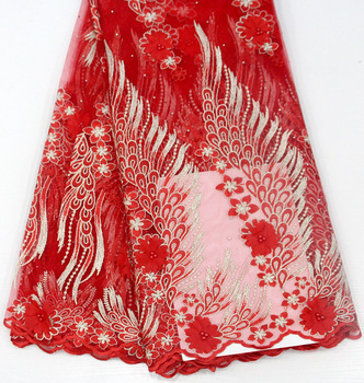 New type of lace fabric with European, American and African lace sells hot-drilled nail-bead applique African lace lace fabric
