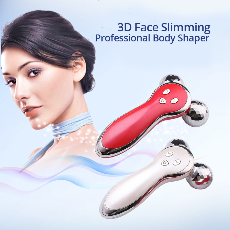 Mirco-current Face Slimming Vibrate Roller Rechargeable Vibration Massage Device 3D Body Shaping Instrument EMS Massager